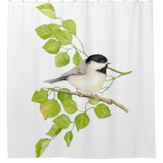 original watercolor black capped chickadee bird shower curtain