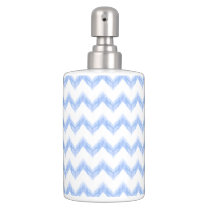 original watercolor blue chevron zigzag bathroom set