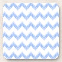 original watercolor blue chevron zigzag beverage coaster