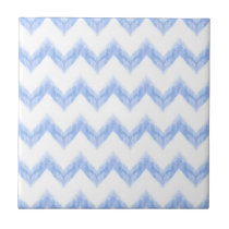 original watercolor blue chevron zigzag ceramic tile