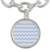 original watercolor blue chevron zigzag charm bracelet