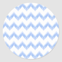 original watercolor blue chevron zigzag classic round sticker