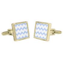 original watercolor blue chevron zigzag cufflinks