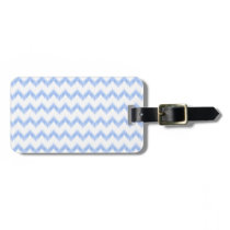 original watercolor blue chevron zigzag luggage tag