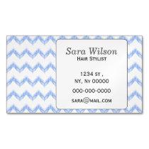 original watercolor blue chevron zigzag magnetic business card