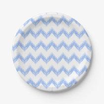 original watercolor blue chevron zigzag paper plate