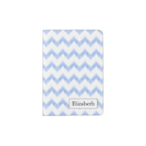 original watercolor blue chevron zigzag passport holder