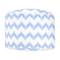 original watercolor blue chevron zigzag pouf