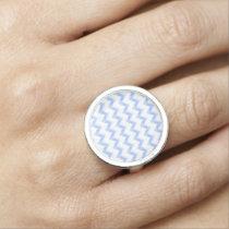 original watercolor blue chevron zigzag ring