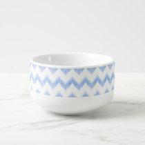 original watercolor blue chevron zigzag soup mug