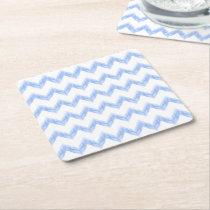 original watercolor blue chevron zigzag square paper coaster