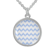 original watercolor blue chevron zigzag sterling silver necklace