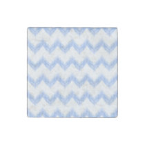 original watercolor blue chevron zigzag stone magnet