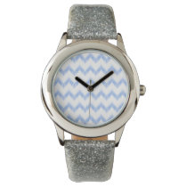 original watercolor blue chevron zigzag watch