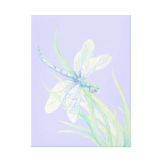 Original watercolor Blue Green Dragonfly Canvas Print