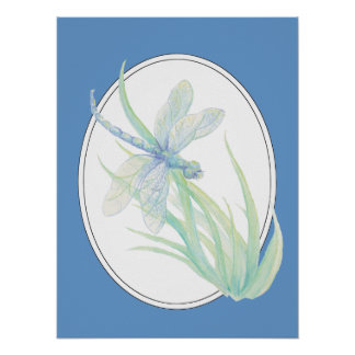 Original watercolor Blue Green Dragonfly Poster