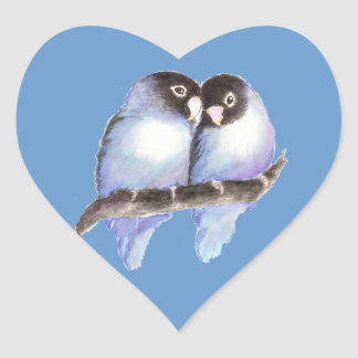 Original Watercolor Blue Lovebirds, Bird Heart Sticker