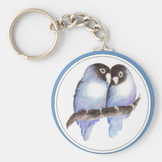 Original Watercolor Blue Lovebirds, Bird Keychain