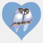 Original Watercolor Blue Lovebirds, Bird Heart Sticker