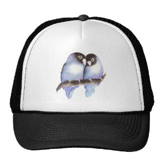 Original Watercolor Blue Lovebirds, Bird Trucker Hat