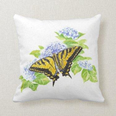 Original Watercolor Butterfly & hydrangea Flower Pillow