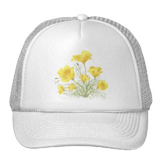 Original Watercolor California Poppy Flower Trucker Hat