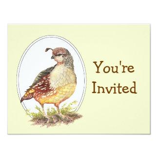 "Original Watercolor California Quail Bird Invites 4.25"" X 5.5"" Invitation Card"