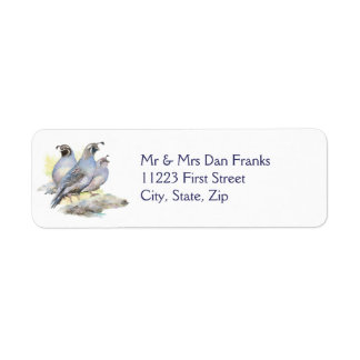 Original Watercolor California Quail Bird Label