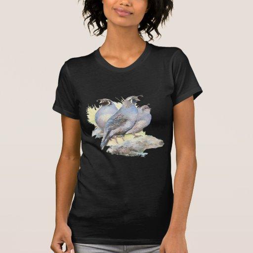 Original Watercolor California Quail Bird T Shirt
