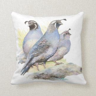 Original Watercolor California Quail Bird Throw Pillow