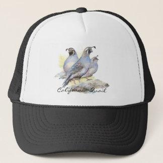 Original Watercolor California Quail. Bird Trucker Hat