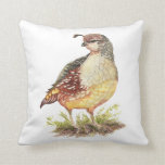Original Watercolor California Quail  Garden Bird Throw Pillow