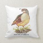 Original Watercolor California Quail  State Bird Throw Pillows