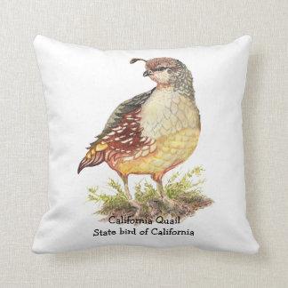 Original Watercolor California Quail  State Bird Throw Pillow