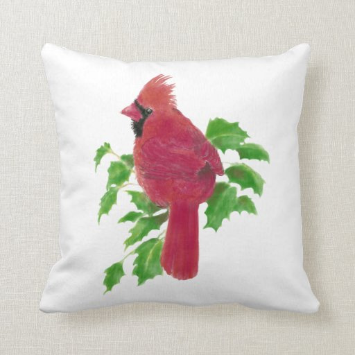 Cardinal Bird Throw Pillows : Original Watercolor Cardinal Bird Nature Throw Pillow Zazzle