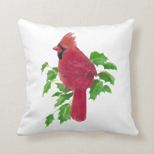 Original Watercolor Cardinal Bird Nature Throw Pillow