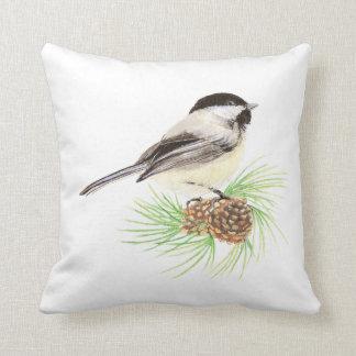 Original Watercolor Chickadee in Pine Tree Nature Throw Pillow
