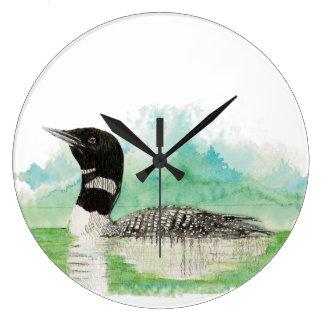 Original Watercolor Common Loon Bird Large Clock