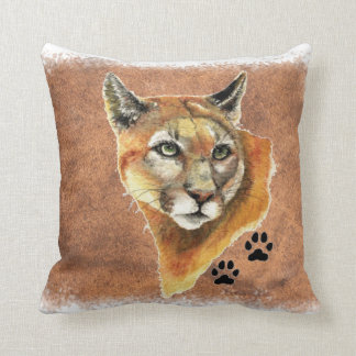 Original Watercolor Cougar Mountain Lion Puma Throw Pillow