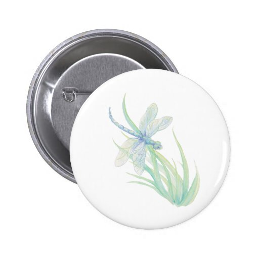 Original Watercolor Dragonfly in Blue and Green Button