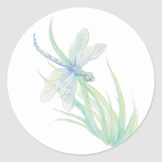 Original Watercolor Dragonfly in Blue and Green Classic Round Sticker