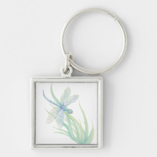 Original Watercolor Dragonfly in Blue and Green Keychain