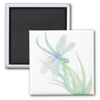 Original Watercolor Dragonfly in Blue and Green Magnet