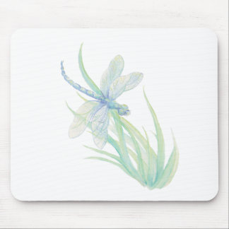 Original Watercolor Dragonfly in Blue and Green Mouse Pad