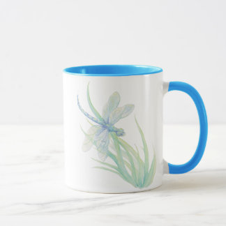 Original Watercolor Dragonfly in Blue and Green Mug