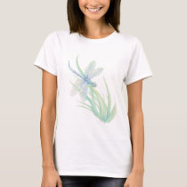 Original Watercolor Dragonfly in Blue and Green T-Shirt