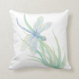 Original Watercolor Dragonfly in Blue and Green Throw Pillow