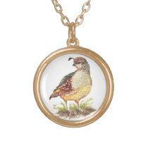 Original Watercolor Female California Quail- Bird Gold Finish Necklace