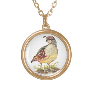 Original Watercolor Female California Quail- Bird Gold Plated Necklace