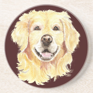Original Watercolor Golden Retriever, Dog Pet Coaster